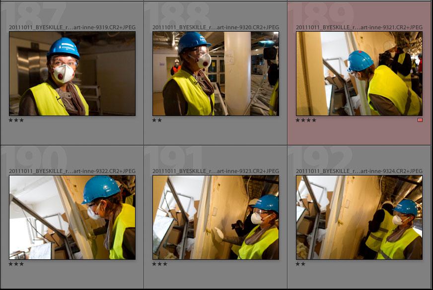 Rigmor Aasrud i et skadet R4-bygg (11. oktober 2011) - Lightroom skjermdump