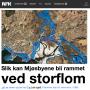 Slik ble saken med flomsonekartene solgt inn fra forsiden på nrk.no rundt klokken 20 mandag 26 mai 2014.