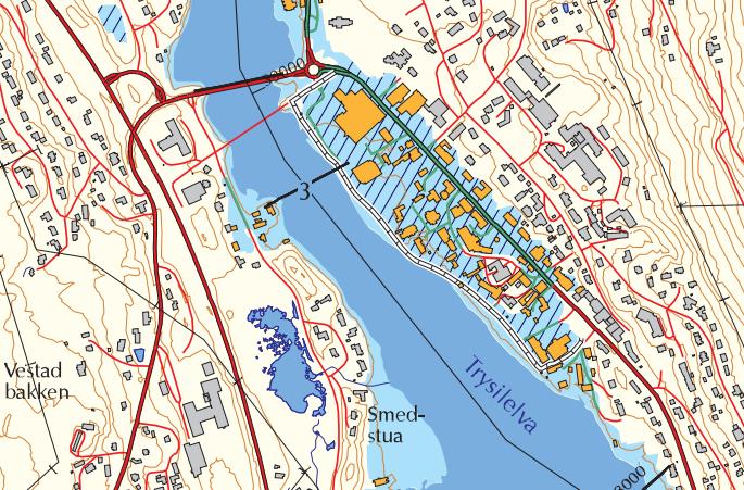 Flombarrieren i Innbygda i Trysil sees som en hvit stiplet linje og bak ligger et skravert område som ville blitt oversvømt uten barrieren.