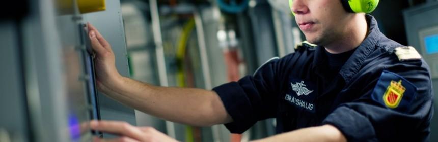 Hørselvern i maskinrom ombord på skip i Skjold-klassen