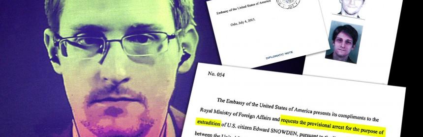 Edward Snowden og diplomatisk note med utleveringsbegjæring