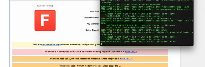Test av nettsider med SSL Labs både på nettside og med API