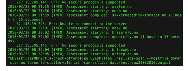 En slik kommando ble kjørt fra kommandolinjen for å sjekke mange tusen domener, og deretter lagre resultatet til ei fil.